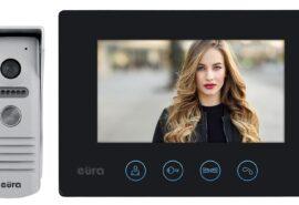 """WIDEODOMOFON """"EURA"""" VDP-40A3 """"FENIKS"""" CZARNY monitor z WiFi, otwieranie 2 wejść, aplikacja Eura Connect"""